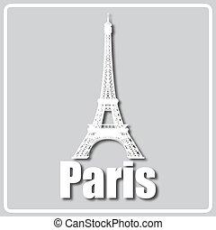 光景, ライト, パリ, アイコン, 灰色