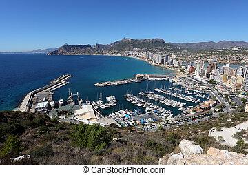 光景, 上に, 地中海, リゾート, calpe, 中に, スペイン