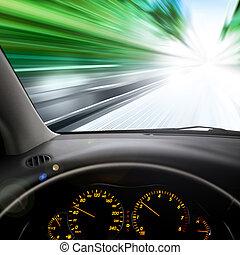 光景, 上に, 自動車, フロントガラス