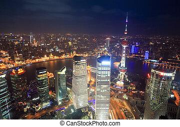 光景, 上海, 航空写真, 夜