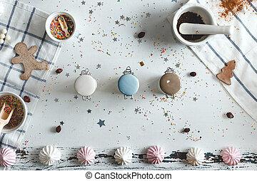 光景, 中心, ジャー, テーブル, クッキー, sweets., キャンデー, above.