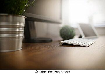 光景, 側, オフィス机