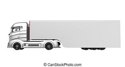 光景, 側, 電気である, ハイブリッド, トラック