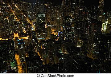 光景, 夜, 航空写真, シカゴ