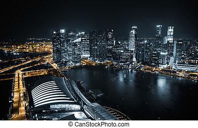 光景, 夜, 航空写真, シンガポール