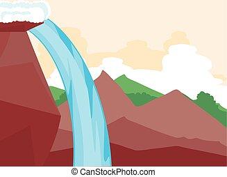 光景, 岩が多い, 風景, 滝, 側, 山