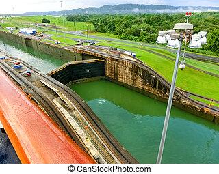 光景, 巡航, 運河, パナマ, 船