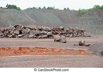 光景, 採石場, 掘削機, 私の