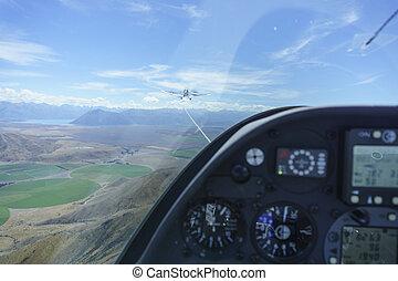 光景, 操縦室, 牽引, 間, グライダー, tow-plane., 下に