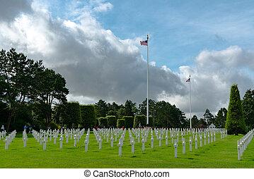 光景, 旗, 浜, 私達, ノルマンディー, 墓地, アメリカ人, omaha