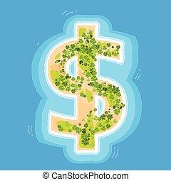 光景, 浜, ドル, 島, 印, 沖合いに, やし 上