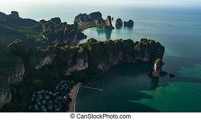 光景, 浜, 風景, タイ, 航空写真, krabi, 山, ∥あるいは∥, 海岸
