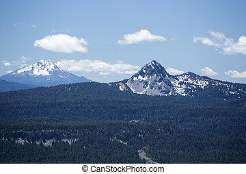 光景, 湖, 噴火口, 山, 縁
