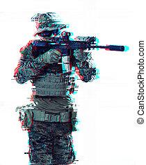 光景, 狙いを定める, laseer, 光学, glitch, 兵士