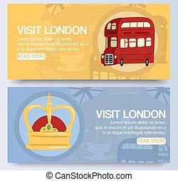 光景, 発見しなさい, シンボル, ロンドンの輸送, 都市, サービス, 訪問, レトロ, 車, 公衆, 赤, 観光客, バス, britain., 旗, 偉人, illustration., 二重 decker, ベクトル, bus.