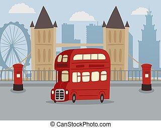 光景, 発見しなさい, シンボル, ロンドンの輸送, eye., 都市, サービス, レトロ, バス, 公衆, 赤, 観光客, 大きい, 車, britain., 旗, ベン, 偉人, illustration., 二重 decker, ベクトル, bus.