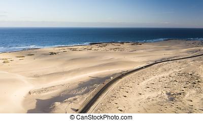 光景, 砂漠, 海岸, 航空写真, 道
