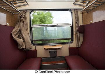 光景, 窓, 列車, 席, コンパートメント, 赤, から