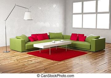 光景, 緑, 部屋, 赤, 正常
