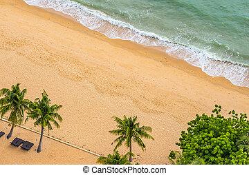 光景, 美しい, 浜, トロピカル, 航空写真, 海