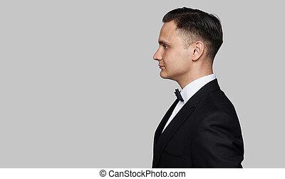 光景, 肖像画, サイドプロフィール, jacket., 隔離された, 黒い 人