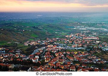 光景, 航空写真, サンマリノ, 夜