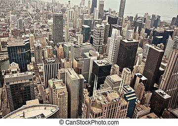 光景, 航空写真, シカゴ