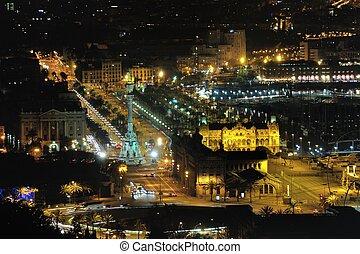 光景, 航空写真, バルセロナ, 夜