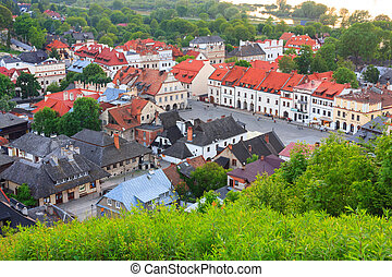 光景, 航空写真, ポーランド, kazimierz, dolny