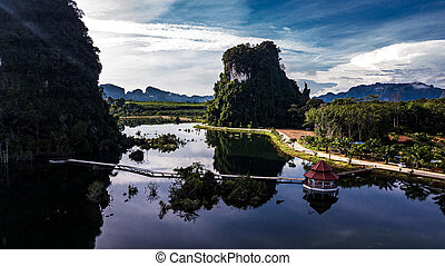 光景, 航空写真, 風景, 山, タイ, krabi