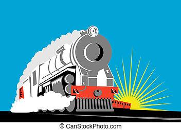 光景, 蒸気, 前部, 列車