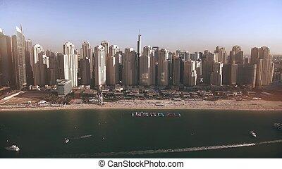 光景, 見られた, 超高層ビル, マリーナ, 浜, 航空写真, uae, 海, ドバイ