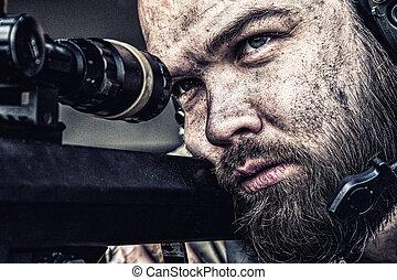 光景, 軍隊, 狙撃兵, 巧み, 狙いを定める, 光学