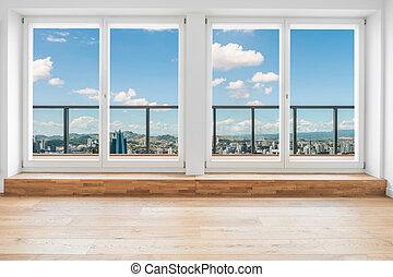 光景, 部屋, によって, 上に, 中, 窓, アパート, ペントハウス, 現代, スカイライン