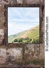 光景, 部屋, によって, lanscape, 古い, 窓