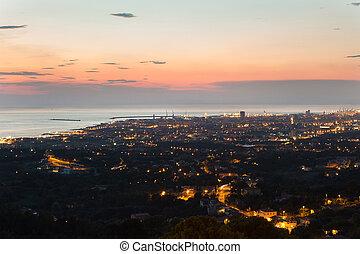 光景, 都市, トスカーナ, livorno, 夕闇, 航空写真