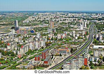 光景, 都市, vilnius, 航空写真, リスアニア, 資本