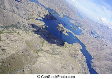 光景, 風景, 操縦室, おおい, flight., 湖, perspex, canterbury, 航空写真, によって, 中で, グライダー