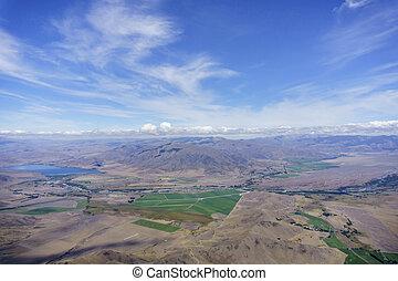 光景, 風景, 操縦室, flight., おおい, perspex, canterbury, 航空写真, によって, 中で, グライダー