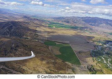 光景, 風景, 編みこみ, 操縦室, 川, おおい, flight., perspex, canterbury, 航空写真, によって, 中で, グライダー