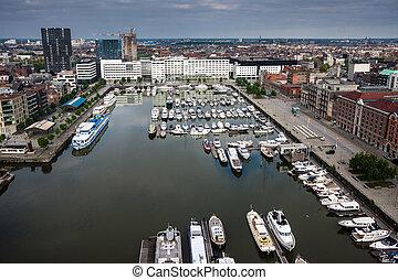 光景, belgium., 航空写真, アントワープ