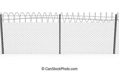 光景, chainlink, ワイヤー, とげがある, 前部, フェンス, 上