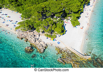 光景, croatia, punta, brela, 浜, rata, 航空写真, dalmatia