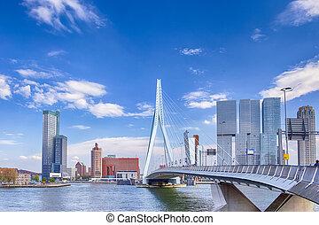 光景, erasmusbrug, (swan, rotterdam, 魅力的, 有名, 前部, harbour., 港, bridge)