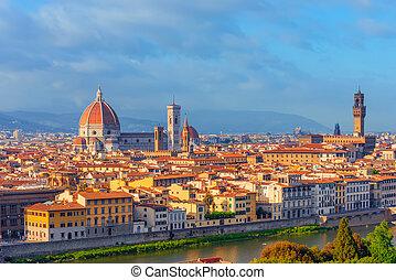 光景, point., 風景, の上, パノラマ, 歴史的, フィレンツェ, michelangelo, 朝, 美しい...