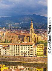 光景, santa, フィレンツェ, croce, 航空写真, イタリア
