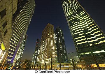 光景, shiodome, 超高層ビル, 夜