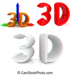 光景, text., イラスト, anaglyph., 見なさい、, 3d., 3d, red/cyan, ガラス