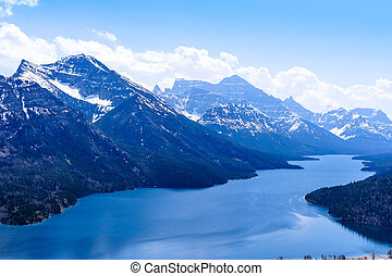 光景, waterton, 湖, 景色, 山, vimy