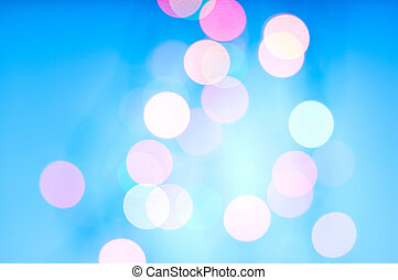 光沢がある, ライト, bokeh, 上に, 青い背景